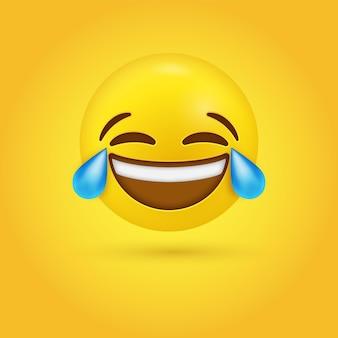 Rindo e chorando rosto de emoji com lágrimas de alegria ou emoção engraçada lol - personagem 3d