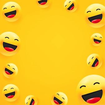 Rindo emoji. fundo de mensagem de mídia social. copie o espaço