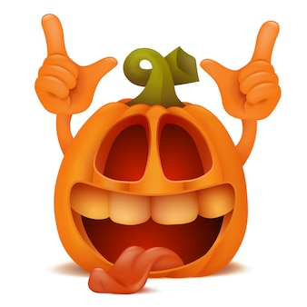 Rindo halloween pumpkin jack lantern emoticon personagem de desenho animado.