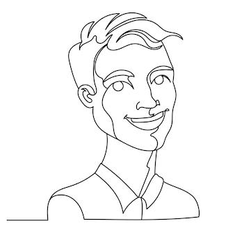 Rindo homem retrato uma linha arte. expressão facial masculina feliz. silhueta de homem linear desenhada de mão.