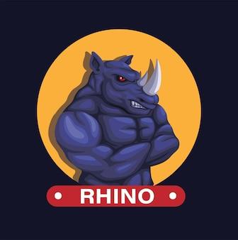 Rinoceronte animal com braços de músculo dobrados, mascote, figura, personagem, ilustração, vetorial