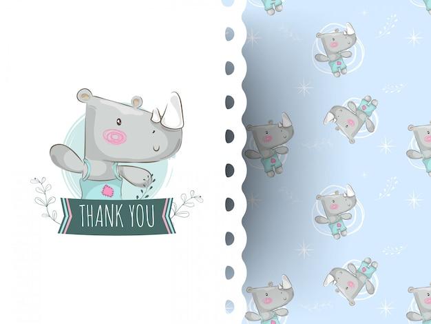 Rinoceronte bonito dos desenhos animados com mensagem de agradecimento