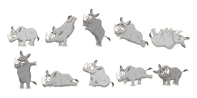 Rinoceronte conjunto coleção design gráfico clipart