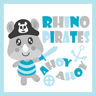 Rinoceronte de bebê bonito como ilustração dos desenhos animados do vetor dos piratas para design de cartão de festa do bebê, design de camisa de criança e papel de parede