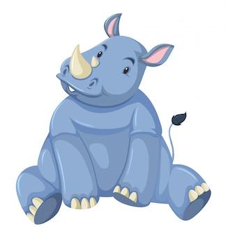Rinoceronte de bebê fofo branco fundo
