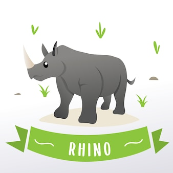 Rinoceronte de mascote dos desenhos animados