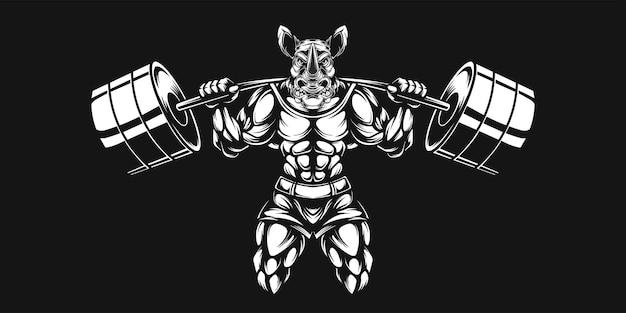 Rinoceronte e haltere, ilustração em preto e branco