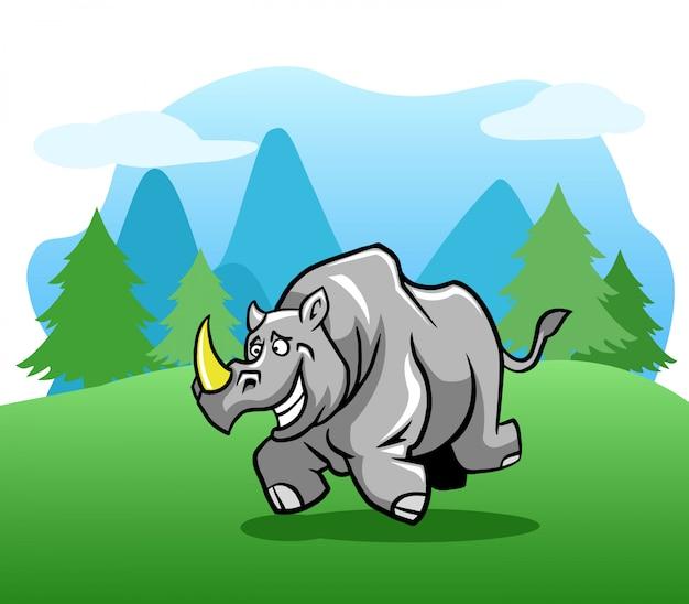 Rinoceronte feliz correndo no exterior.