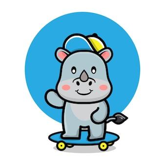 Rinoceronte fofo brincando de ilustração de skate