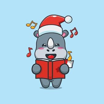 Rinoceronte fofo canta uma canção de natal ilustração fofa dos desenhos animados de natal