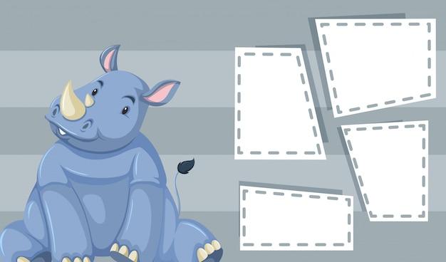 Rinoceronte fofo cinzento com quadros de copyspace