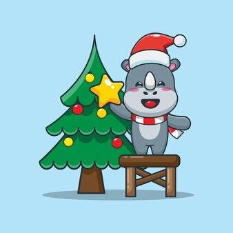 Rinoceronte fofo com árvore de natal no dia de natal ilustração fofa dos desenhos animados de natal