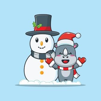 Rinoceronte fofo com boneco de neve no dia de natal ilustração fofa dos desenhos animados de natal