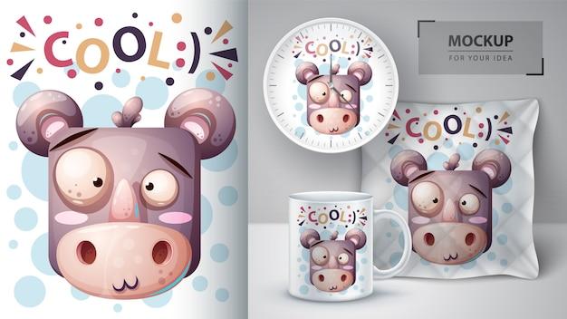 Rinoceronte fofo com cartaz de peixe e merchandising