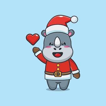 Rinoceronte fofo com fantasia de papai noel no dia de natal ilustração fofa dos desenhos animados de natal
