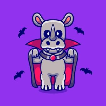 Rinoceronte fofo com fantasia de vampiro de halloween