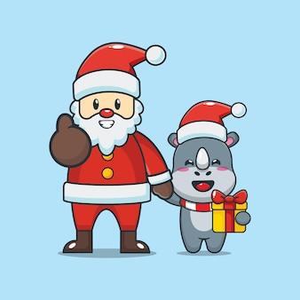 Rinoceronte fofo com o papai noel no dia de natal ilustração fofa dos desenhos animados de natal