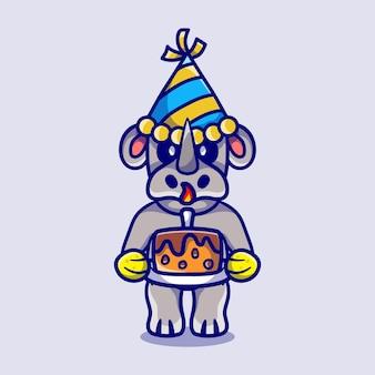 Rinoceronte fofo comemorando feliz ano novo ou aniversário