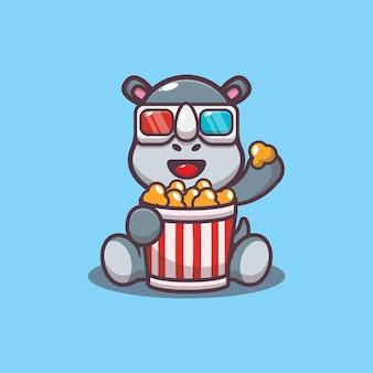 Rinoceronte fofo comendo pipoca e assistindo filme em 3d