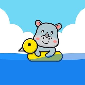 Rinoceronte fofo nadando com ilustração dos desenhos animados do anel de natação