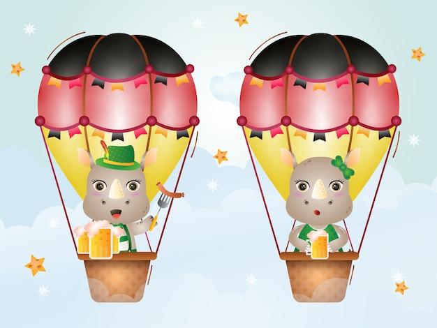 Rinoceronte fofo no balão de ar quente com o vestido tradicional da oktoberfest