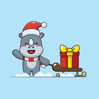 Rinoceronte fofo no dia de natal carregando um presente ilustração fofa dos desenhos animados de natal