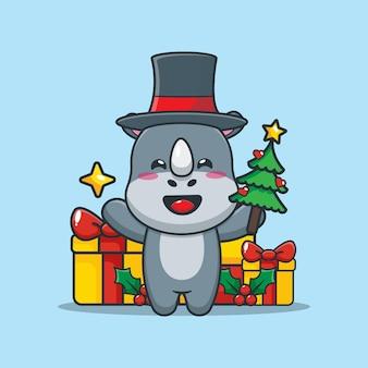 Rinoceronte fofo no dia de natal segurando a árvore e a estrela de natal ilustração fofa dos desenhos animados de natal