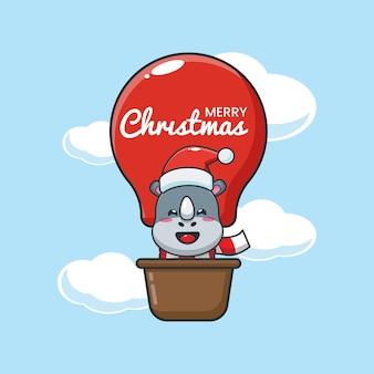 Rinoceronte fofo no dia de natal voe com balão de ar ilustração fofa dos desenhos animados de natal
