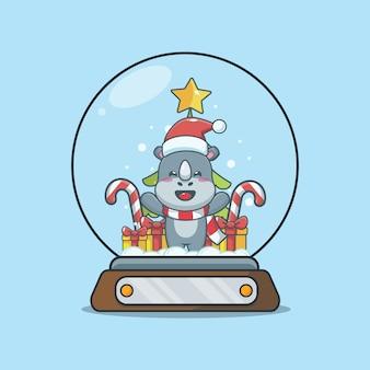 Rinoceronte fofo no globo de neve ilustração fofa dos desenhos animados de natal