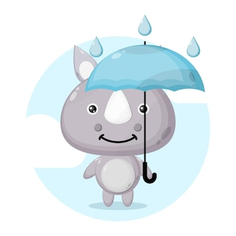 Rinoceronte guarda-chuva fofo personagem