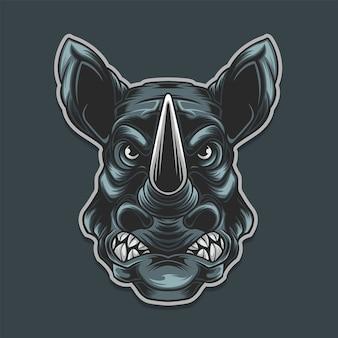 Rinoceronte preto isolado em fundo escuro