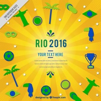 Rio 2016 de fundo com elementos desportivos e tradicionais em design plano