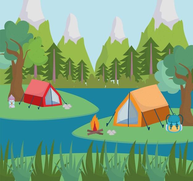 Rio de floresta de acampamento