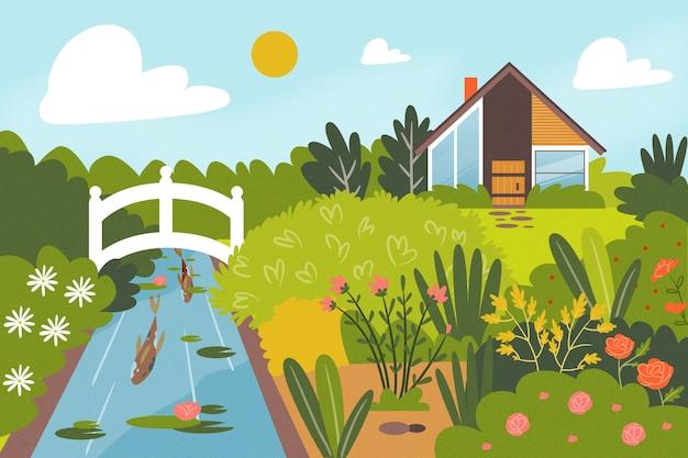 Rio e casa paisagem de primavera