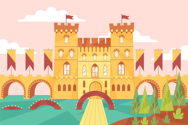 Rio e castelo de conto de fadas