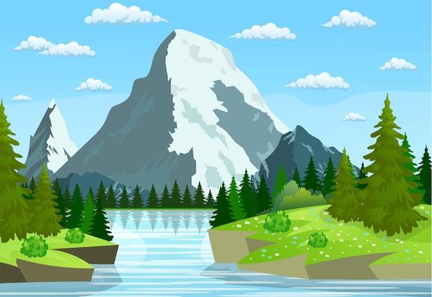Rio fluindo pelas colinas rochosas.