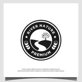 Rio natureza jardim agricultura folha logotipo design vector