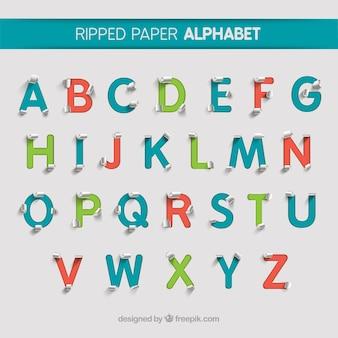 Ripped alfabeto papel