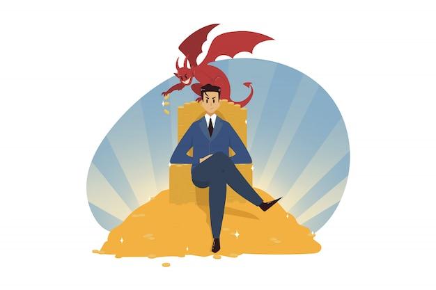 Riqueza de negócios, conceito do diabo.