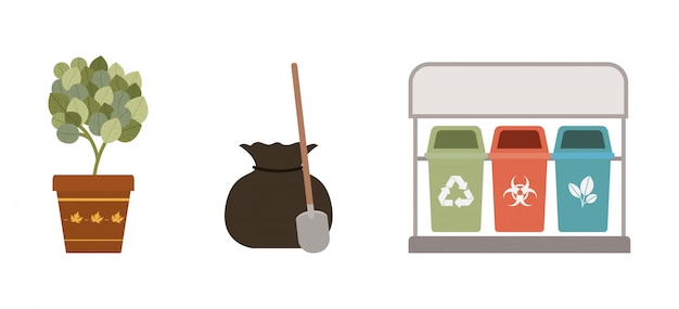 Risco biológico de reciclagem isolado e orgânico