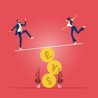 Risco financeiro e empresarial, estabilidade ou equilíbrio da economia e investimento ou risco de perder o conceito de emprego