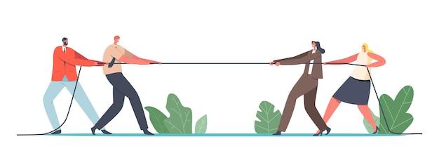 Rivalidade de equipe de gênero, conceito de luta de super-heróis do escritório. personagens homens e mulheres empresários competição de cabo de guerra, batalha pela liderança, torneio, luta. ilustração em vetor desenho animado