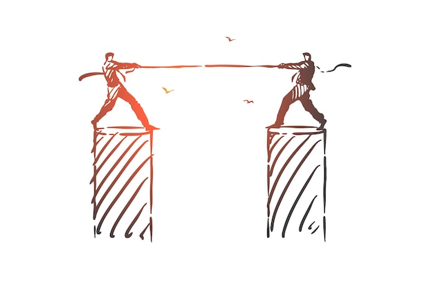 Rivalidade, oposição, ilustração de esboço de conceito de luta