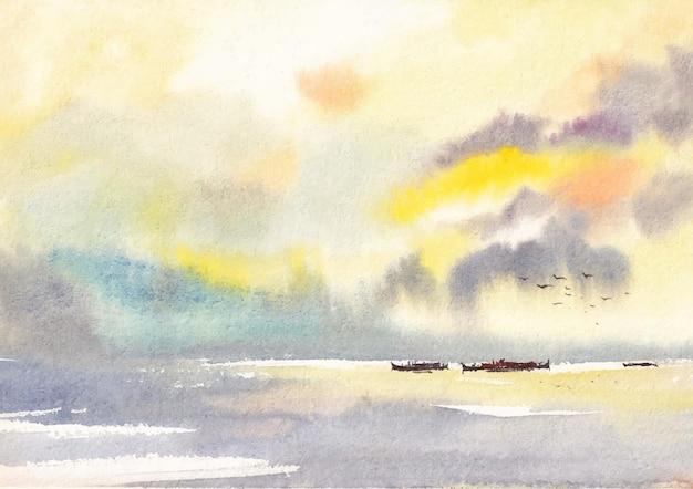 Riverscape fundo aquarela pintura à mão arte
