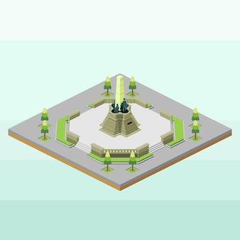 Rizal park of philippines in isometric