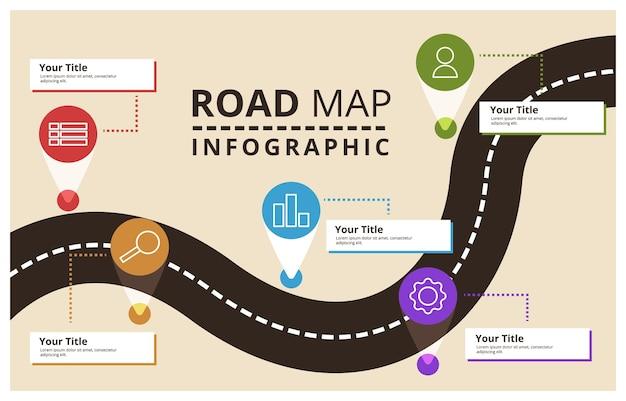 Road map relatório criativo conceito de plano de negócios modelo de infográfico