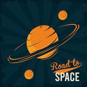 Road to space lettering com saturno e luas em pôster estilo vintage.