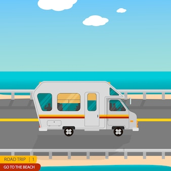 Road trip para a praia toda a família na caravana