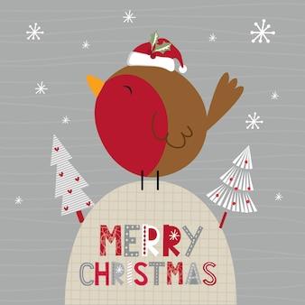 Robin bonito e banner de feliz natal