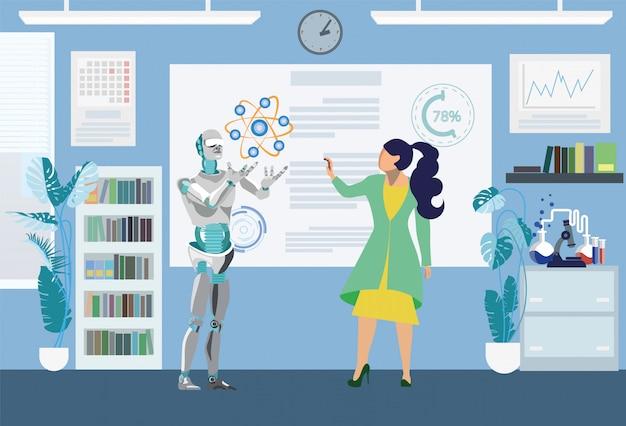 Robô ajudando na ilustração plana de teste científico